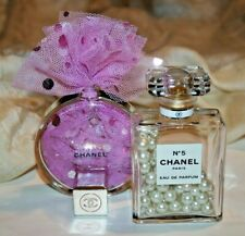 2x Womens Designer Chanel No5/Chance Vintage Faux Pearl Filled Bottle Display