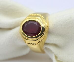 5.41 Ct Ruby Natural Gemstone Gold Men's Ring 18K Certified Fine Jewelry