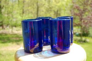 BLUE MEXICAN HIBALL/COLLINS GLASSES SET OF 4   COBALT HAND BLOWN      LOT #4438