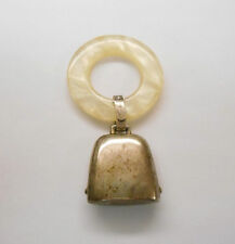 SOUTHWESTERN MOTHER OF PEARL CELLULOID RING HANGING STERLING SILVER COWBELL  **