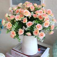 Artificial Silk Fake Rose Flowers Wedding Party Home Bouquet Decor 15 Heads