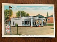 1920s Postcard Prescott Arizona Sills Service Red Crown Gas Station Roadside