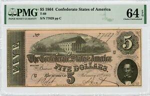 1864 T-69 $5 The Confederate States of America Note - CIVIL WAR Era PMG 64 EPQ