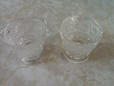 """Duncan and Miller Sandwich Clear Open Sugar and Creamer Scroll Design 2 3/4"""" H"""