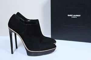 New 9.5 / 39.5 Saint Laurent Janis Black Suede Jane Platform Pointed Bootie Shoe