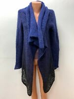 SARAH PACINI One size Long Purple Black Knitted Cardigan Waterfall 20%WOOL