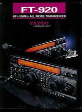Yaesu FT-920 HF+50 MHz All Mode Transceiver Radio Vintage Original BROCHURE