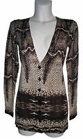 LADIES STUNNING SNAKESKIN ANGORA WOOL BLEND  V NECK BUTTON CARDIGAN - BROWN S/M