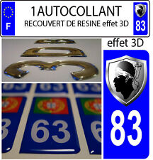 1 sticker plaque immatriculation auto TUNING 3D RESINE  BLASON CORSE DEPA 83