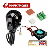 5v Fan silver green copper Heat sink with Black USB On/Off Switch Raspberry Pi 3