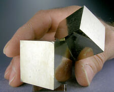 LARGE SHINY 2-CUBE GOLDEN PYRITE CRYSTALS CLUSTER FROM SPAIN + 3-D VIDEO