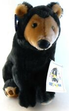 "Applause 1995 Stuffed Plush Bear with all Tags 10"" Realistic Black Bear Toy"