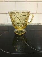 Vintage Federal Depression Glass Yellow Amber Dutch Rose Rosemary Footed Creamer