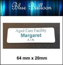Name Badge -With Pin - (white on blue) 64mm x 20mm - Nurse, Staff, Clubs, Bowls,