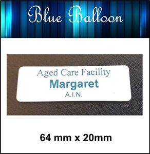 5 x Name Badge -With Pin - (white on blue) 64mm x 20mm - Nurse, Staff, Clubs,,