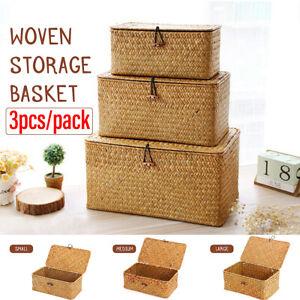 3 Size Straw Basket Rattan Storage Box Hamper Home Towel Socks Organizer  .☆a