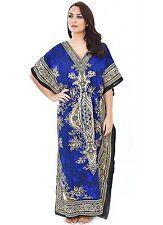 Gorgeous Blue Kaftan Boho Hippy Plus Size Women Dress Beach Cover Up Knightwear