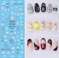 Christmas Nail Art Water Decals Transfers Santa Owls Stars Trees Reindeers DS358