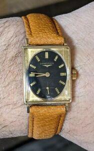 Vintage Mens Longines 10K Gold Filled Rectangle Wrist WatchRun's Excellent