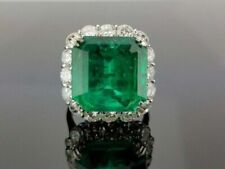 18.00 Carat Colombian Emerald & Cubic Zirconia 925 Silver Wedding Ring size 8
