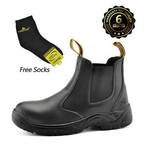 SAFETOE Safety Boots Men Work Shoes Leather Steel Toe Water Resistant Breathable