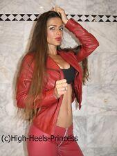 Lederjacke Kunstleder XS S faux Leather Halloween Gogo Ochsenblutrot Bikerjacke