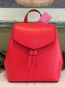 KATE SPADE LIZZIE MEDIUM FLAP BACKPACK TOTE BAG ORANGE GERANIUM LEATHER $329