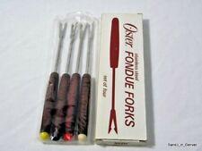 Set of 4 Vintage Oster Fondue Forks Stainless Steel Teak Handles, Colored Tips,