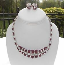 VINTAGE KRAMER OF NEW YORK RUBY RED  RHINESTONE NECKLACE AND CLIP EARRINGS SET