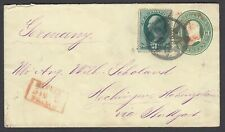 US 1873 Sc U82 and 147 with NYFM (ST-8P11) on cover to Germany, Perfect Strike