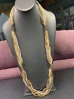 Vintage Boheniman Tan White Interesting  Seed Multi Strand Long Necklace Boho 32