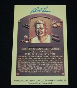Bob Lemon Cleveland Indians Signed Yellow HOF Plaque Postcard-NM