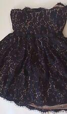 Neiman Marcus Robert Rodriguez Black Flower Lace Over Beige Strapless Dress 12