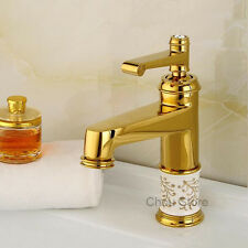 Gold Polished Bathroom Brass Wash Basin Sink Mixer Faucet Single Lever Water Tap