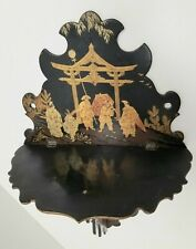 LARGE PAPER MACHE WALL SHELF, BLK LACQUER W/ CHINOISERIES DECOR (FR)