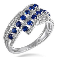 Solid 14K White Gold 0.78 Ct Blue Sapphire Cocktail Diamond Ring Fine Jewelry