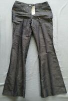 NEXT Women's Blue Tailored Linen Blend Trousers Size UK 12 L Long New With Tags