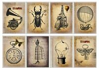 Steampunk Balloon & Beetle Glossy Finish Card Making Topper -Craft Embellishment
