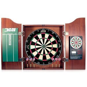 DMI DART BOARD CABINET CHERRY WITH DARTBOARD / ELECTRONIC SCORER / pick up only