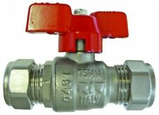 """B15-00162 - 28mm Compresson End Tube To Tu be-""""T"""" Handle (Red) Ball Valv"""