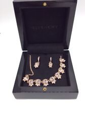 $88 GIVENCHY CRYSTAL CLEAR NECKLACE &  ROSE GOLD TONE DROP EARRINGS GM2