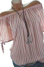 Carmen Bluse gestreift Tunika Sommer Shirt Off Shoulder 36 38 40 Rot Weiß NEU