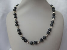 Snowflake Obsidian and Silver Bead Necklace
