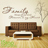 FAMILY FOREVER IN MY HEART WALL STICKER QUOTE - BEDROOM LOVE WALL ART DECAL X286