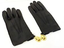 Authentic Christian Dior Leather Winter Gloves Women Size 7.5 Black N223