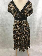 Dressbarn knit dress Size 14 V neck brown black floral travel stretch