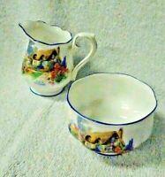 Royal Albert A Bit Of Old England Crown China  Creamer and Open Sugar Bowl