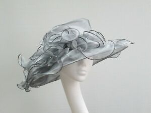 Grey Organza Crush Proof Wedding / Races Hat