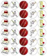 30 x Cricket Sports Edible Cupcake Toppers Wafer Paper Fairy Cake Topper