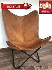 LEATHER BUTTERFLY HAND MADE CHAIR/ GENUINE LEATHER HAND MADE--LIGHT BROWN